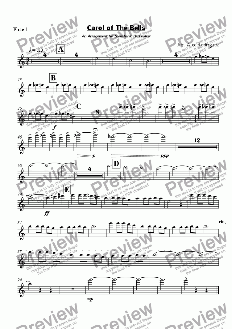 page one of the Flute 1 part from Carol of The Bells An Arragement for Symphonic Orchestra