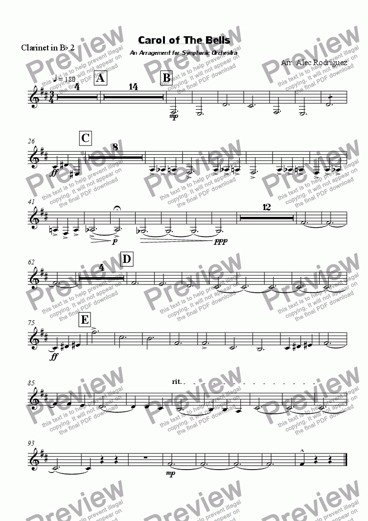 page one of the Clarinet in B^b 2 part from Carol of The Bells An Arragement for Symphonic Orchestra