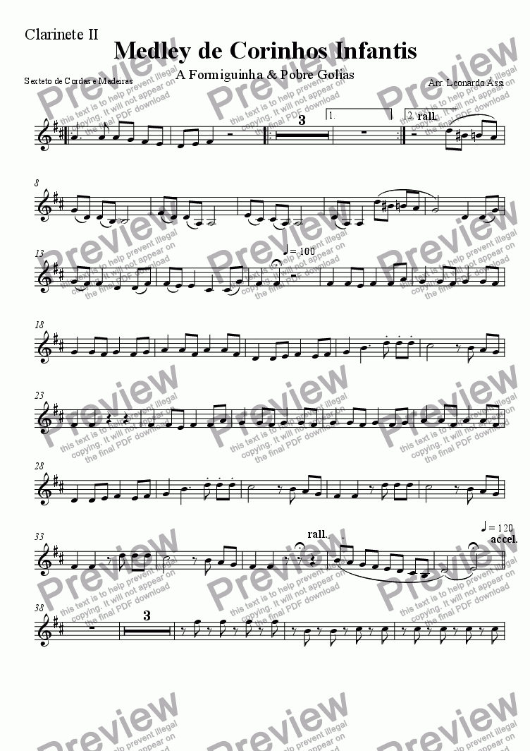 page one of the Clarinet 2 (Bb) part from Medley de Corinhos Infantis
