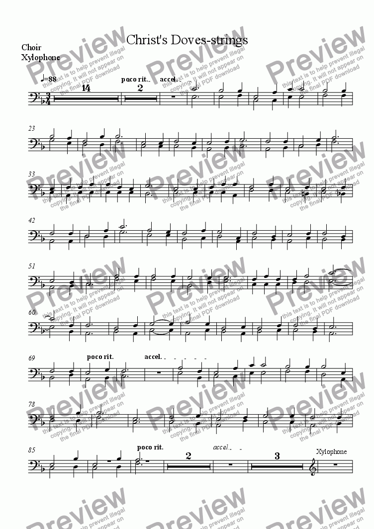 page one of the Choir, Xylophone part from Christ's Doves-strings