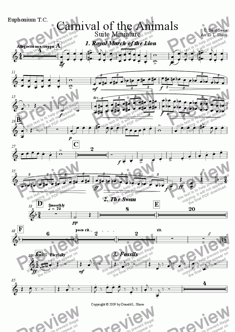 page one of the Euphonium T.C. part from Carnival of the Animals