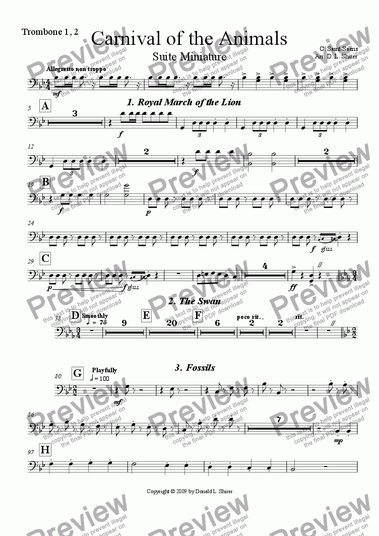 page one of the Trombone 1, 2 part from Carnival of the Animals