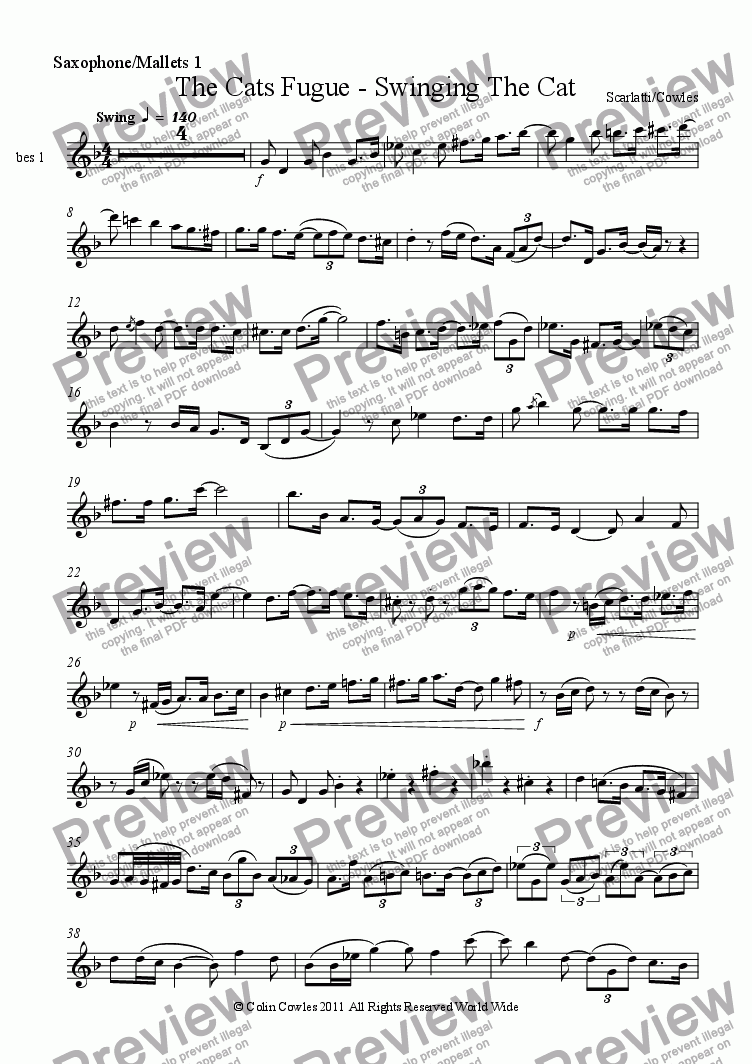 page one of the Saxophone/Mallets 1 part from The Cats Fugue - Swinging The Cat