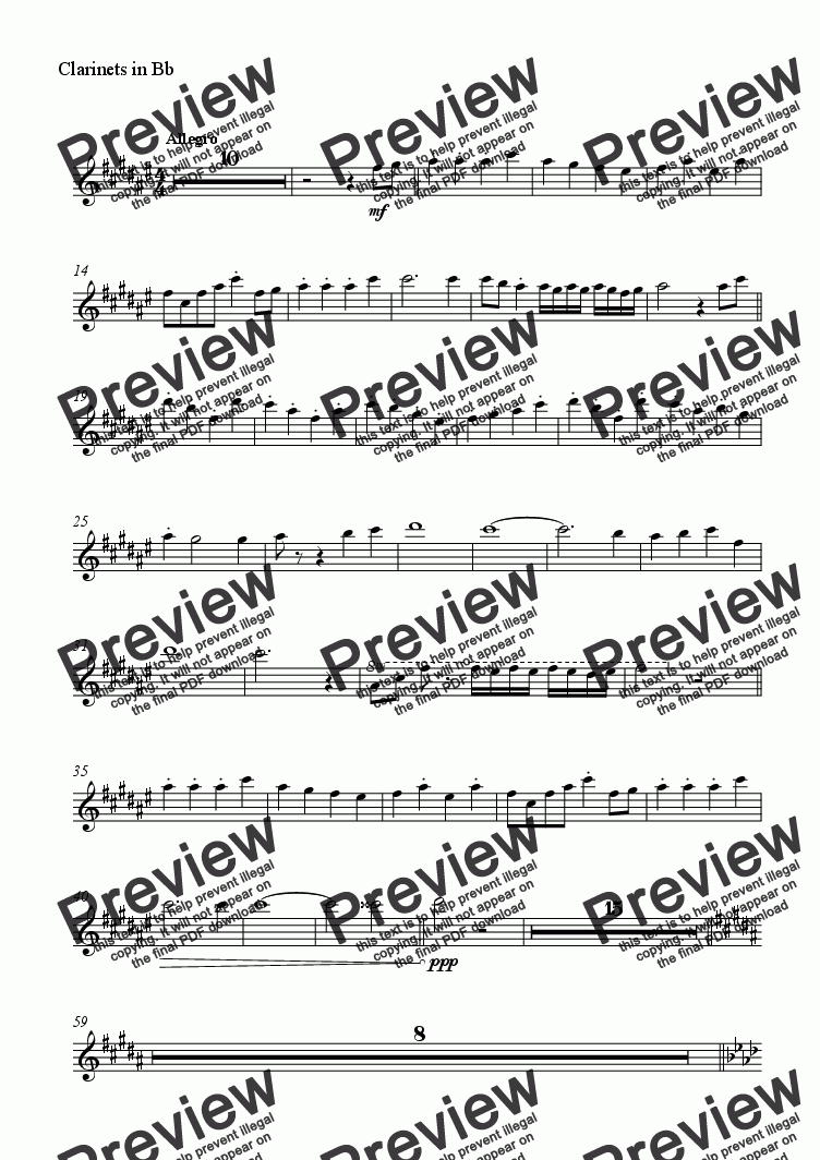 page one of the Clarinets in Bb part from Summer breeze