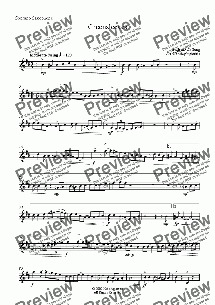 page one of the Soprano Saxophone part from Greensleeves/What Child Is This? (Saxophone Quartet)