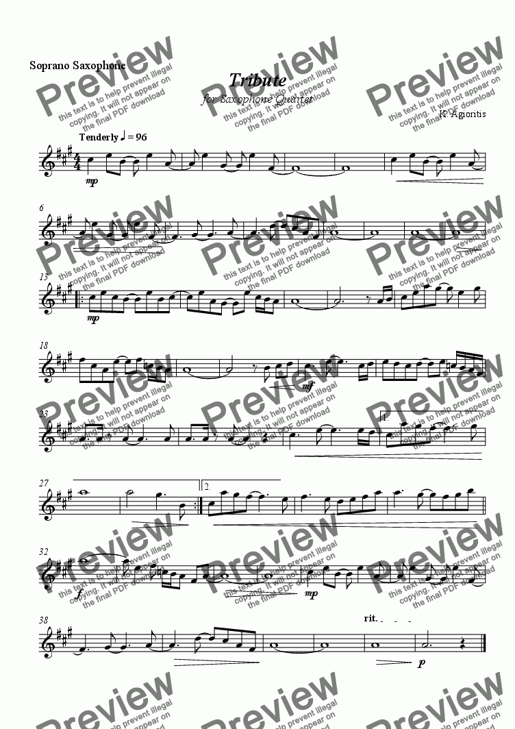 page one of the Soprano Saxophone part from Tribute - for Saxophone Quartet