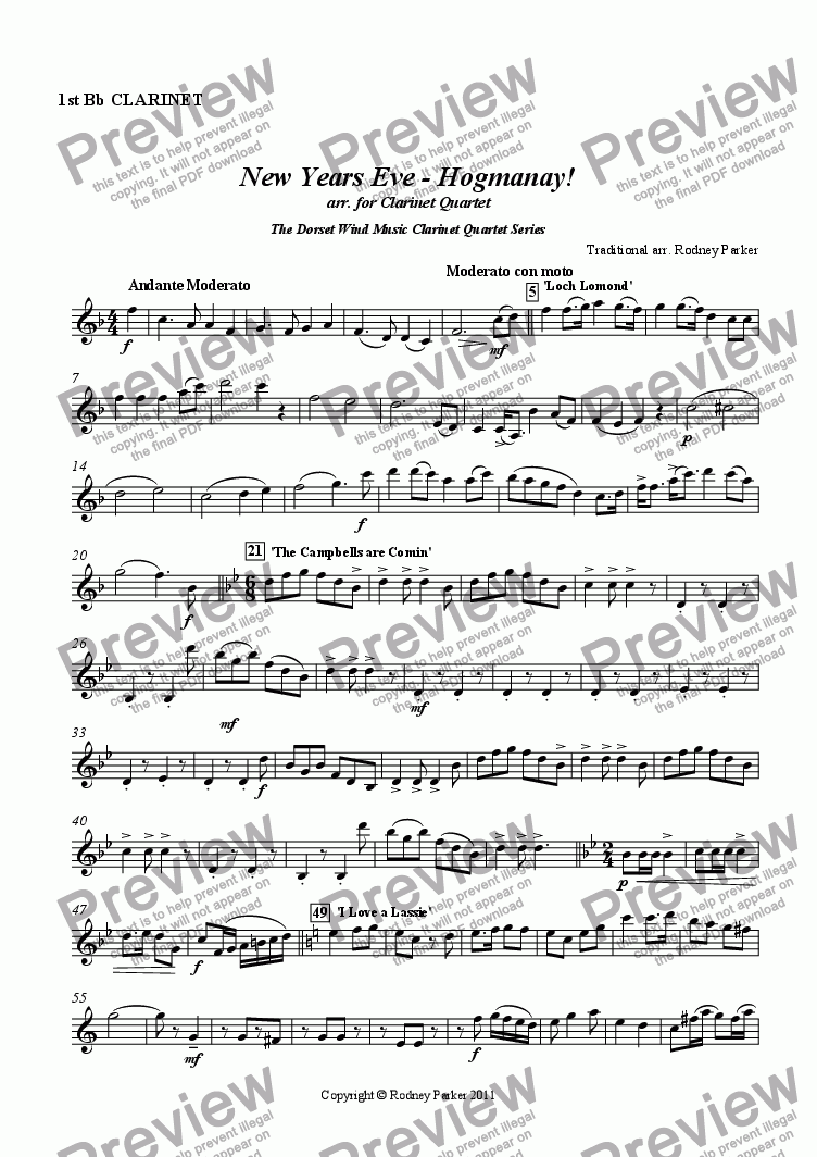 page one of the 1st Clarinet in Bb part from New Years Eve - Hogmanay! arr. for Clarinet Quartet