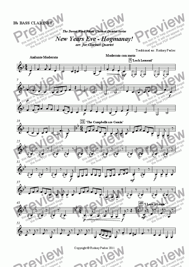 page one of the Bass Clarinet in Bb part from New Years Eve - Hogmanay! arr. for Clarinet Quartet