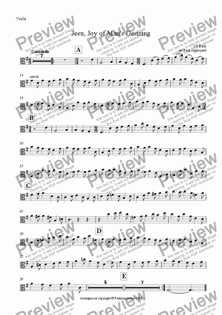 page one of the Viola part from Jesu, Joy of Man's Desiring