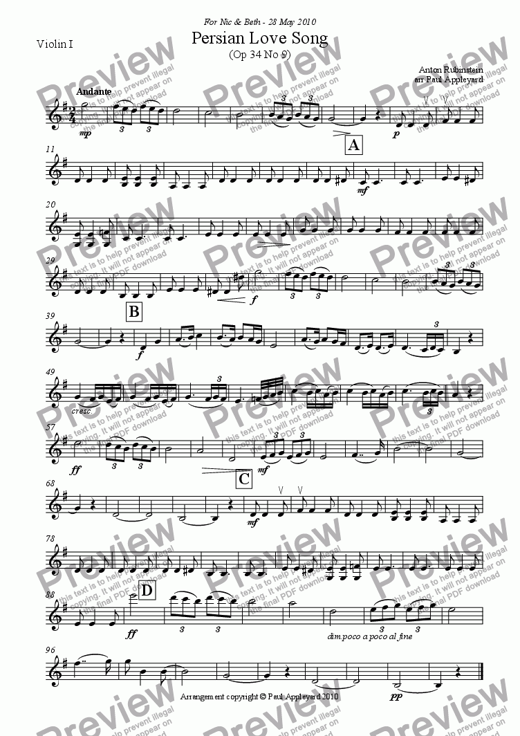 page one of the Violin I part from Persian Love Song (Rubinstein)