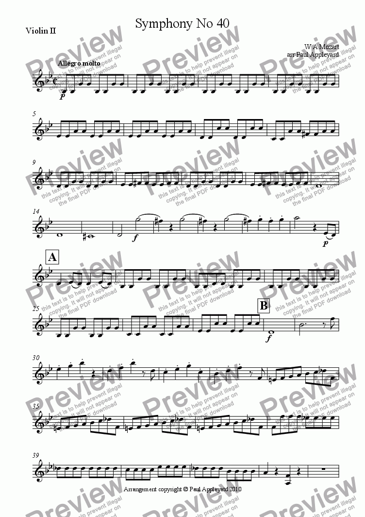 page one of the Violin II part from Symphony No 40 K550 (First movement)