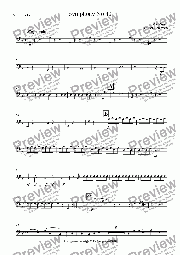 page one of the Violoncello part from Symphony No 40 K550 (First movement)