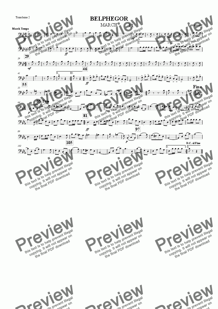 page one of the Trombone 2 part from BELPHEGOR MARCH