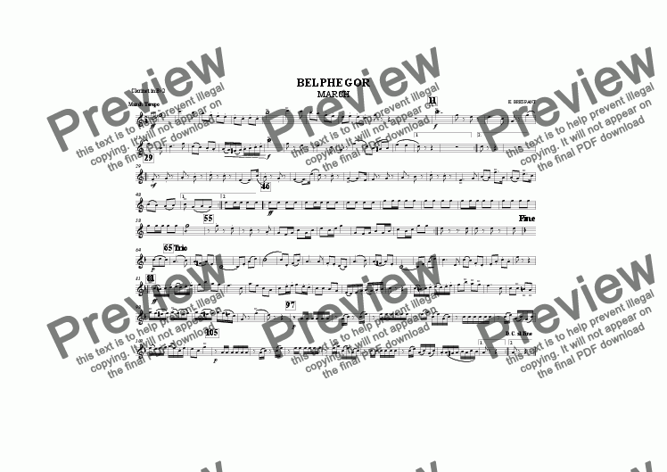 page one of the Clarinet in B^b 2 part from BELPHEGOR MARCH