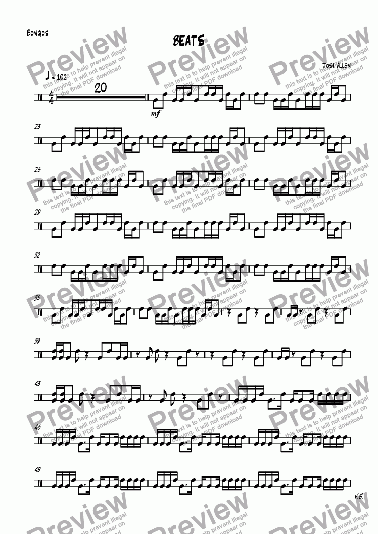 page one of the Bongos part from BEATS