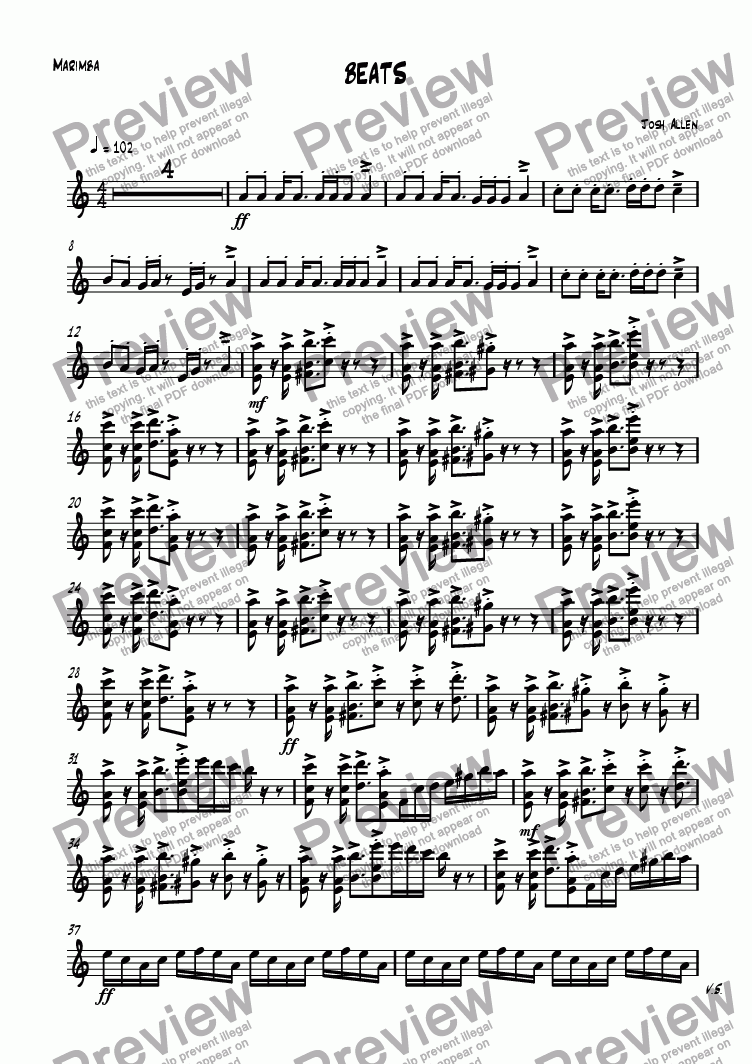 page one of the Marimba part from BEATS
