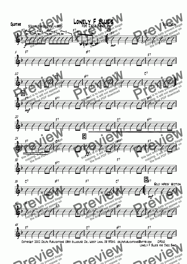 page one of the Guitar part from Lonely F Blues for Jazz Band