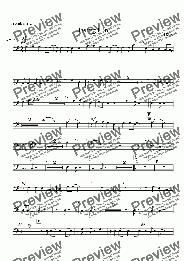 page one of the trombone 2 part from Having Fun