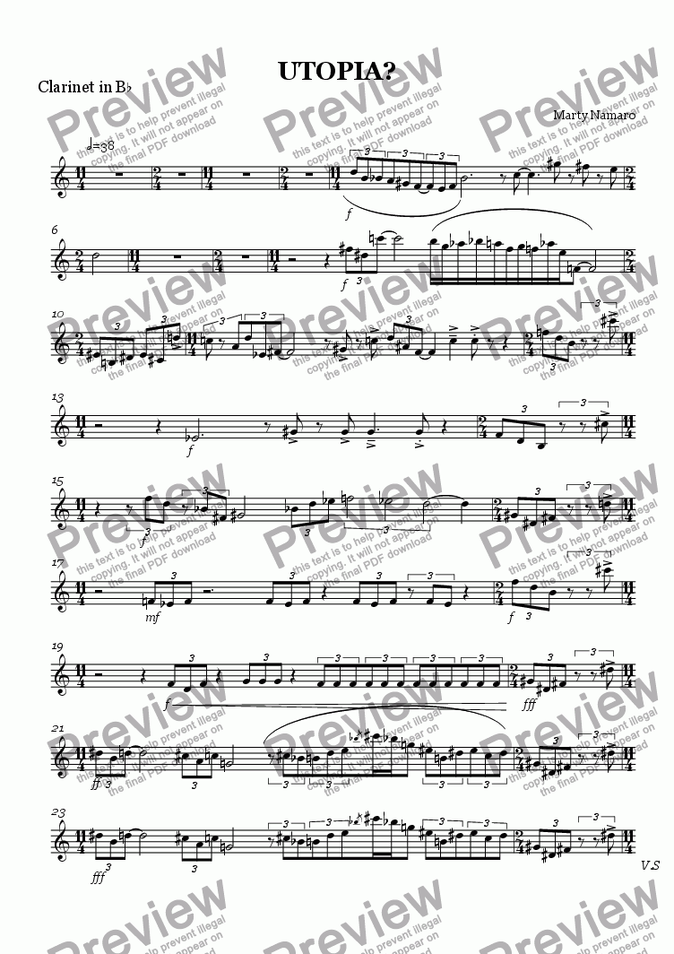 page one of the Clarinet in B^b part from UTOPIA?