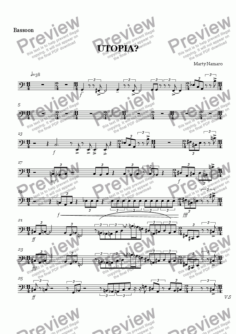 page one of the Bassoon part from UTOPIA?