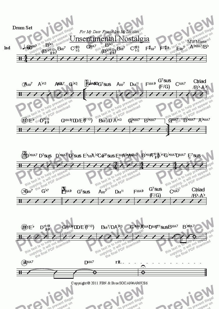 page one of the Drum Set part from Unsentimental Nostalgia