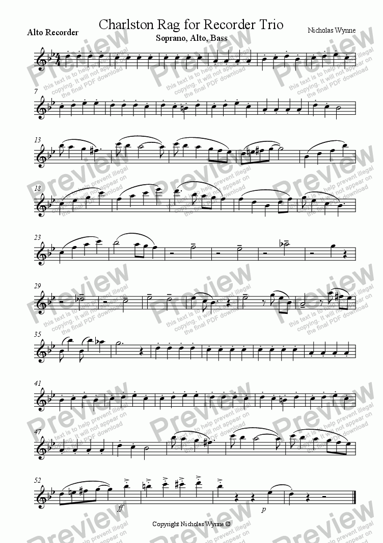 page one of the Alto part from Charlston Rag for Recorder Trio