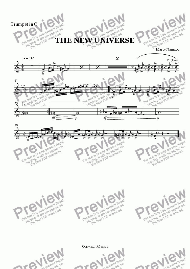 page one of the Trumpet in C part from THE NEW UNIVERSE