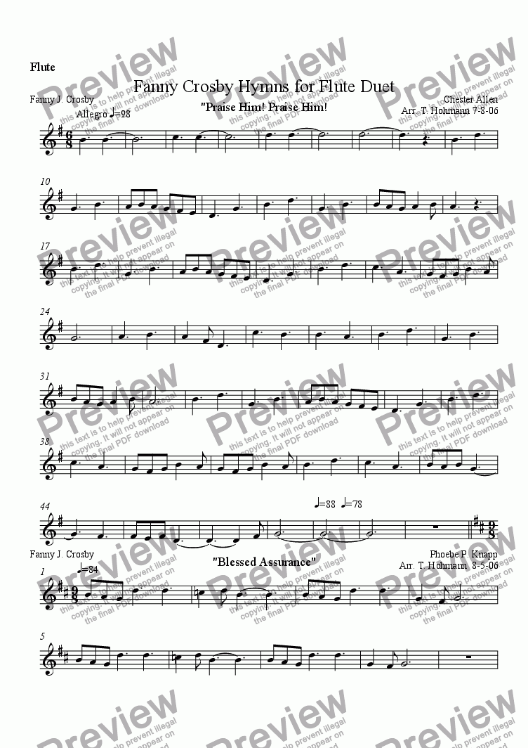 Flute part from Fanny Crosby Hymns for Flute Duet for Duet of Flutes by  trad  - Sheet Music PDF file to download