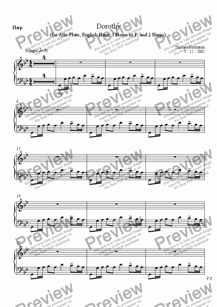 page one of the Harp part from Dorothy