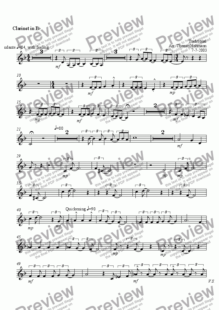 page one of the Clarinet in B^b part from We Couldn't Hear Nobody Pray