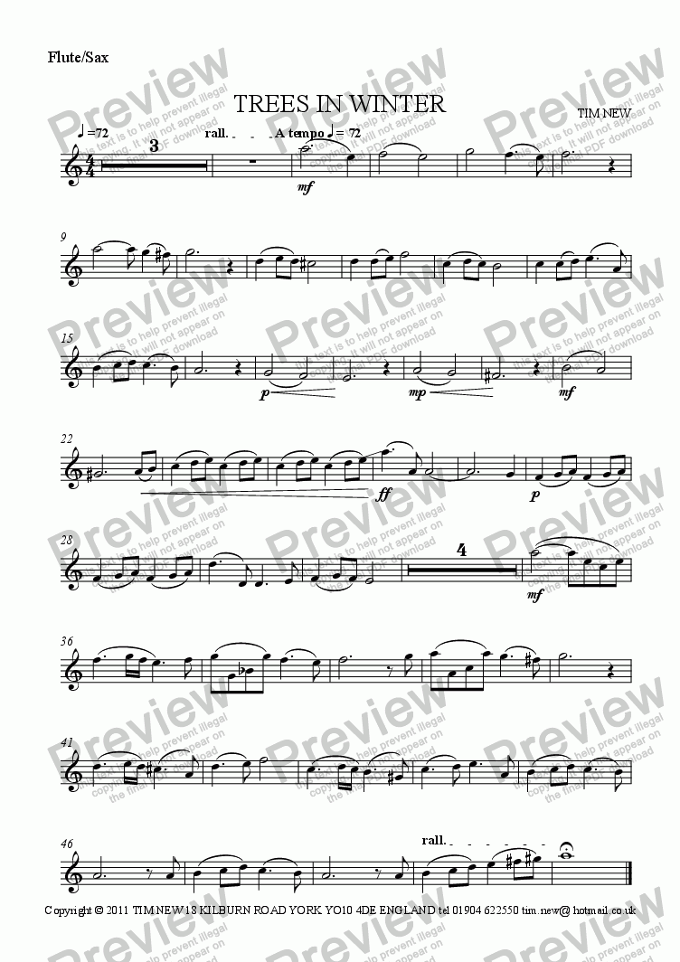 page one of the Flute/Sax part from TREES IN WINTER for flute and piano