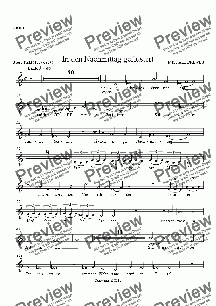 page one of the Tenor part from In den Nachmittag geflüstert