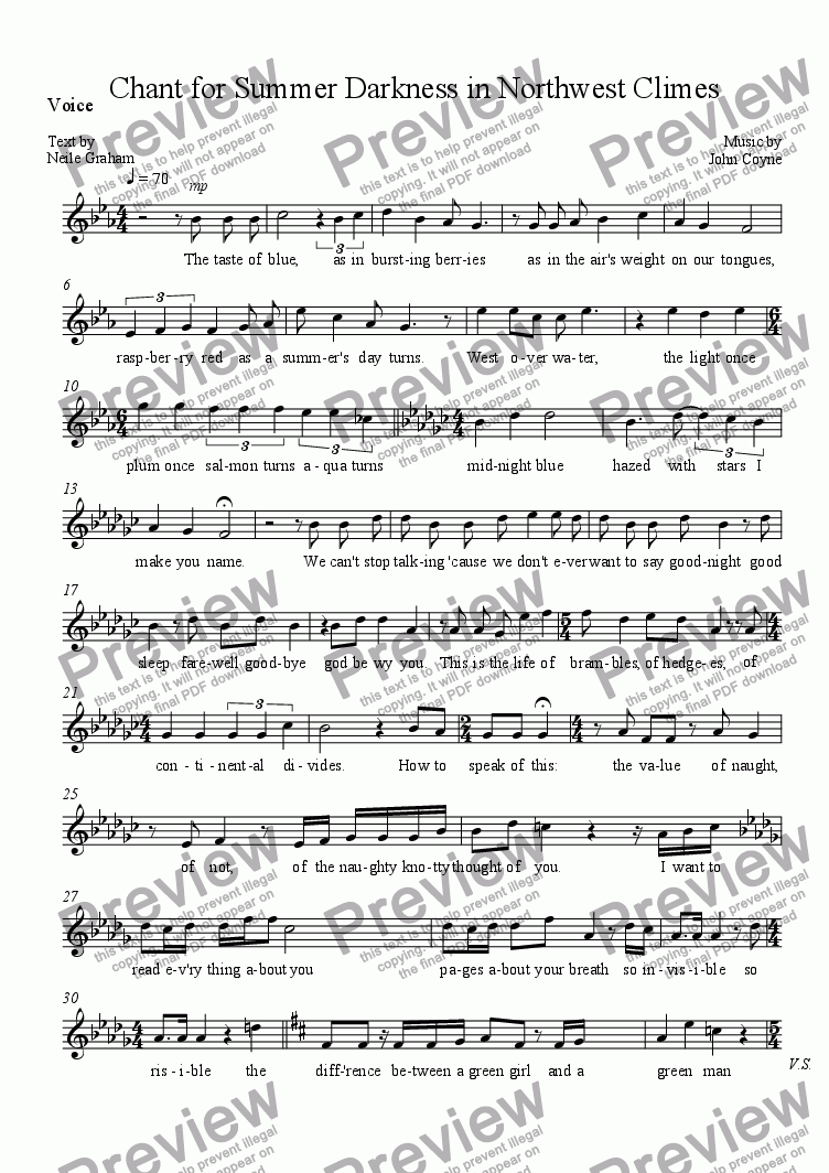 page one of the Voice part from Chant for Summer Darkness in Northwest Climes