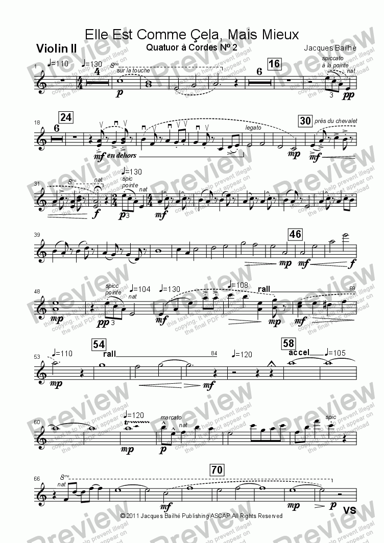 page one of the Violin II part from Elle Est Comme Çela, Mais Mieux