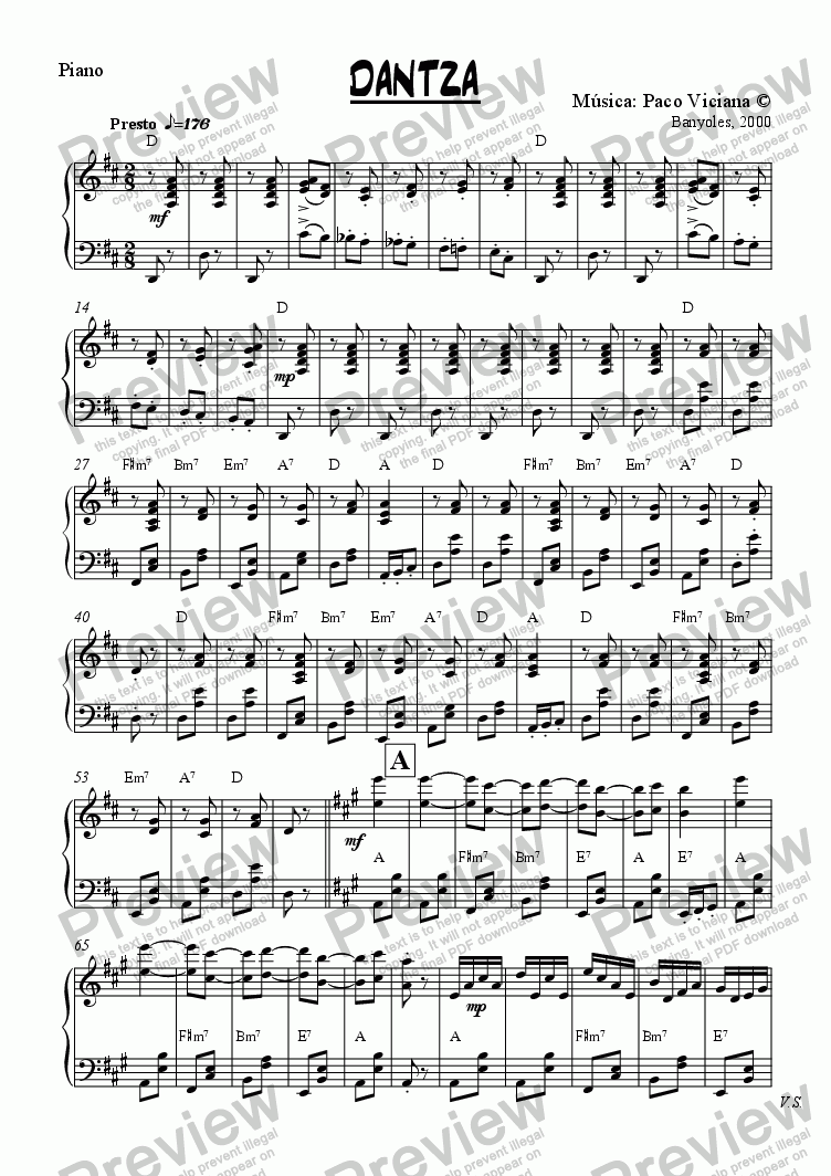 page one of the Piano part from 095-Dantza (original version)