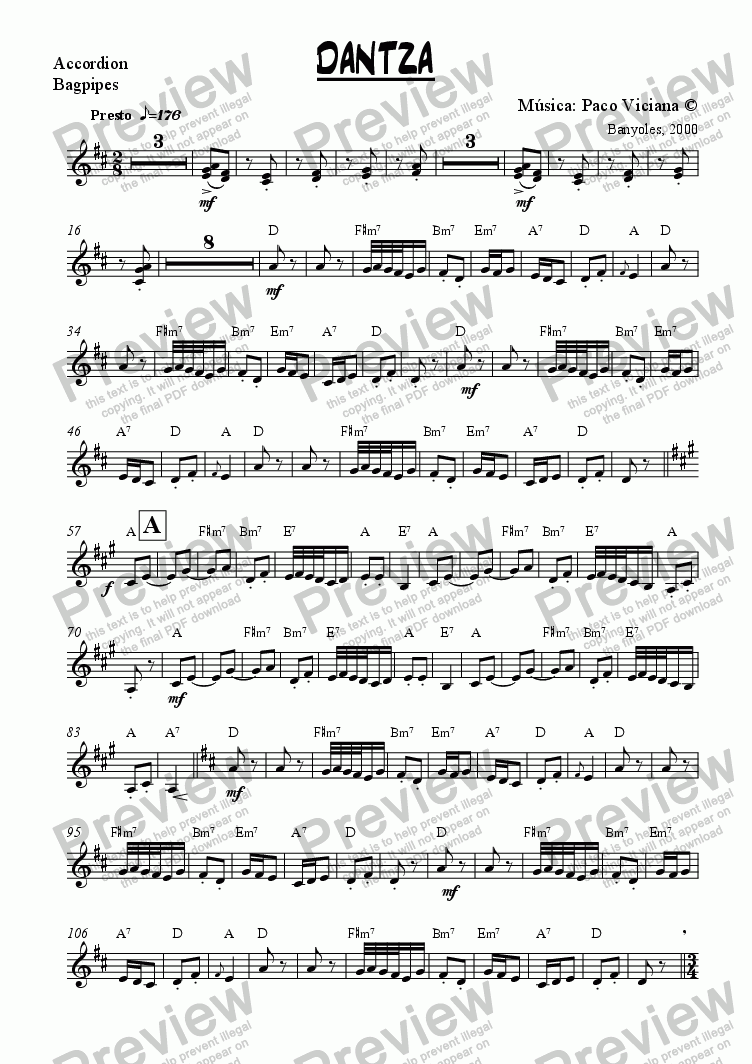 page one of the Accordion, Bagpipes part from 095-Dantza (original version)