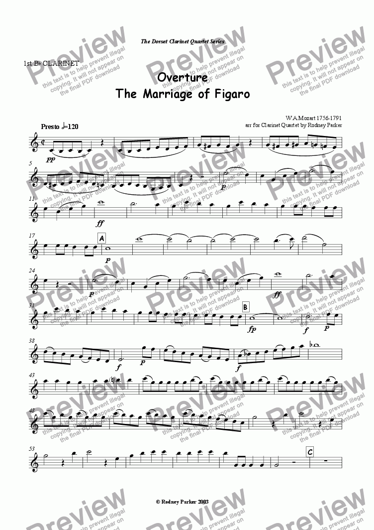 "page one of the 1st Bb Clarinet part from Overture ""The Marriage of Figaro"" arr for Clainet Quartet"