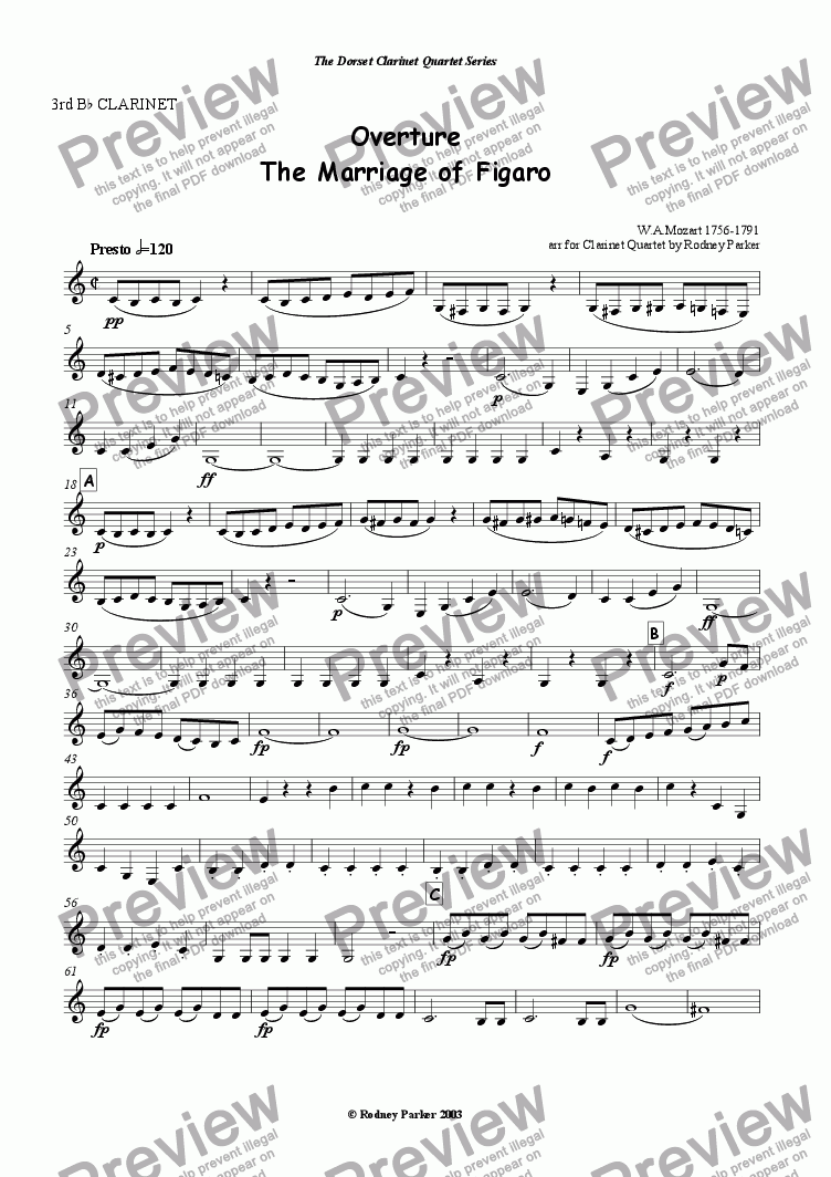 "page one of the 3rd Bb Clarinet part from Overture ""The Marriage of Figaro"" arr for Clainet Quartet"