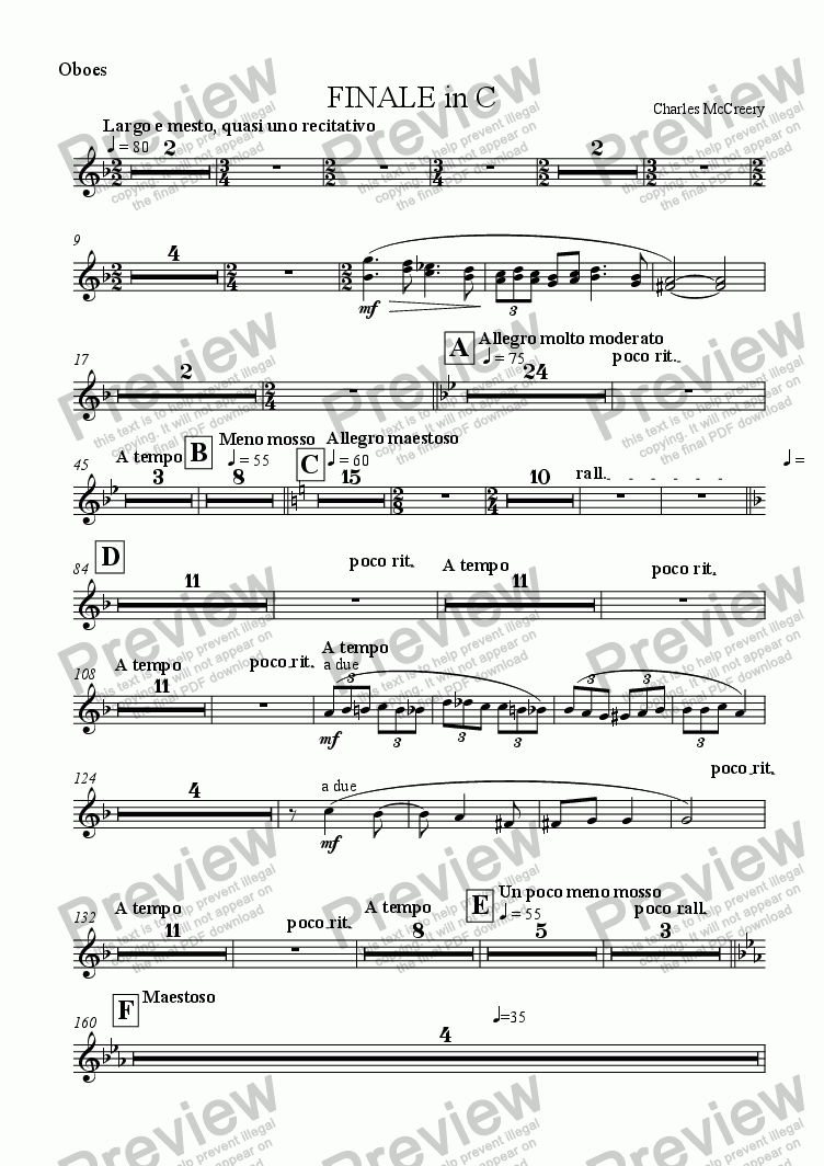 page one of the Oboes part from FINALE in C