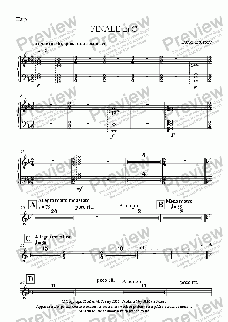 page one of the Harp part from FINALE in C