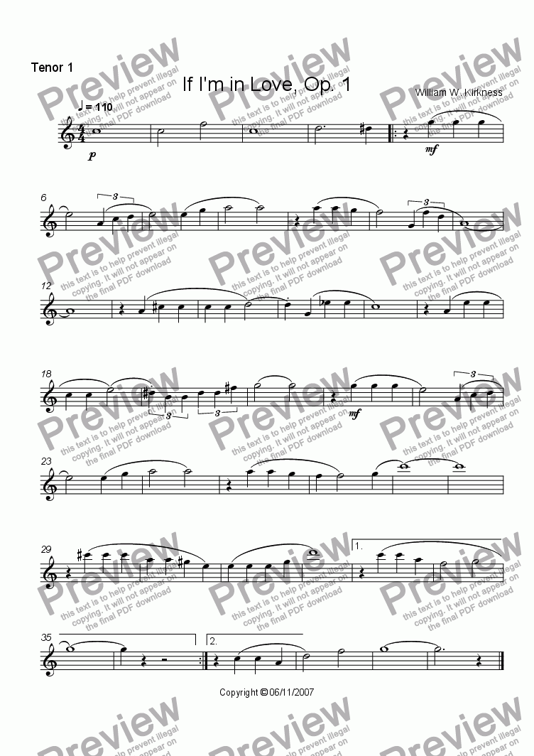 page one of the Tenor 1 part from If I'm in Love, Op. 1a