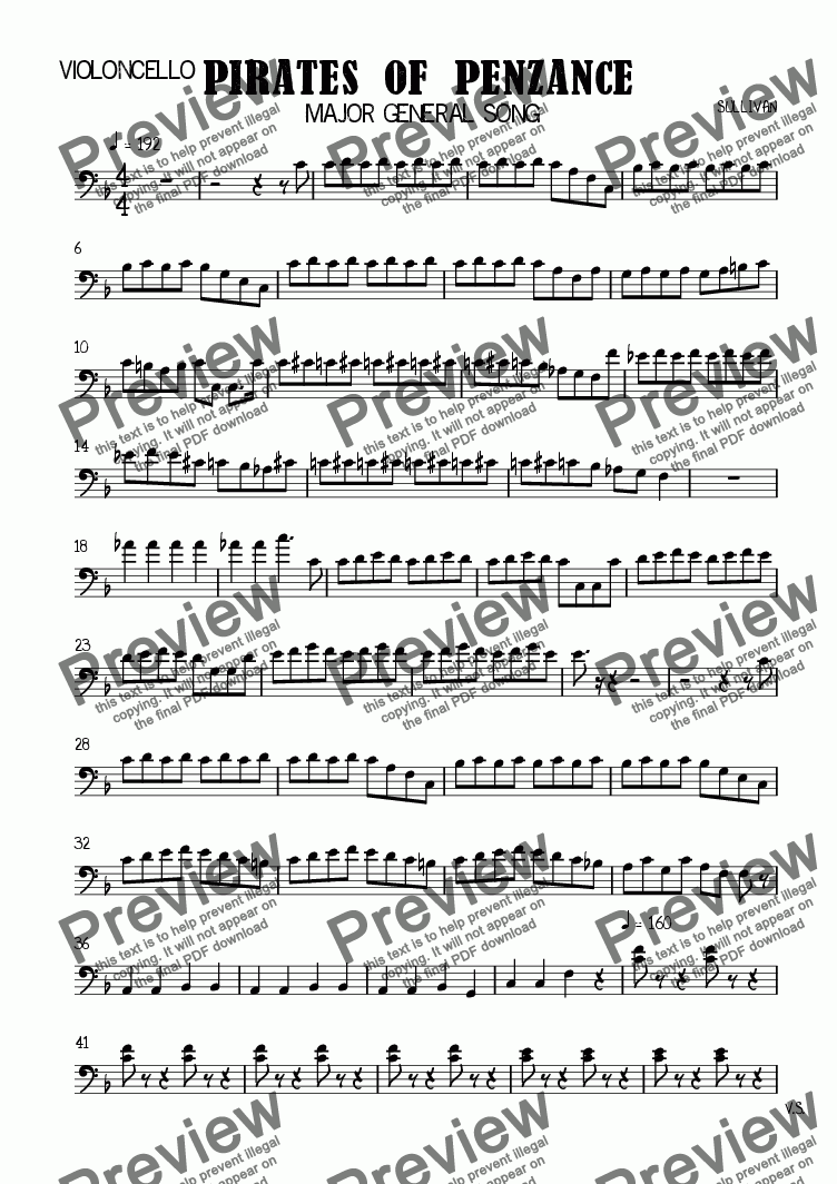 page one of the Violoncello part from PIRATES OF PENZANCE