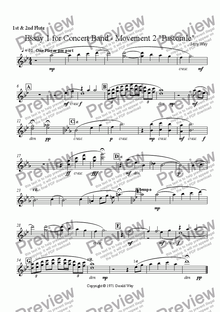"page one of the 1st & 2nd Flute part from Essay 1 for Concert Band - Movement 2 ""Pastorale"""