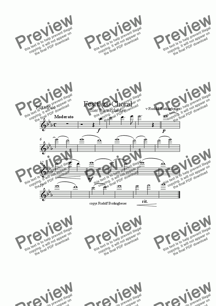 page one of the 1.Fl�te/Picc part from Festtags-Choral f�r Blasorchester