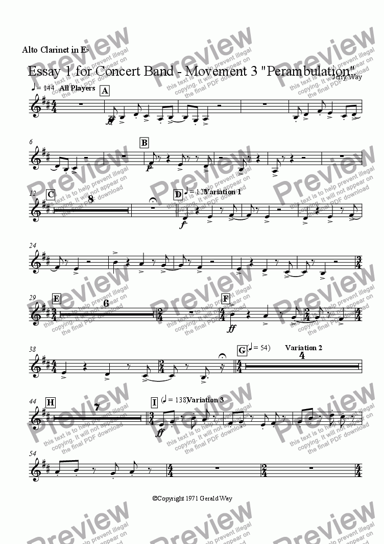 "page one of the Alto Clarinet in E^b part from Essay 1 for Concert Band - Movement 3 ""Perambulation"""