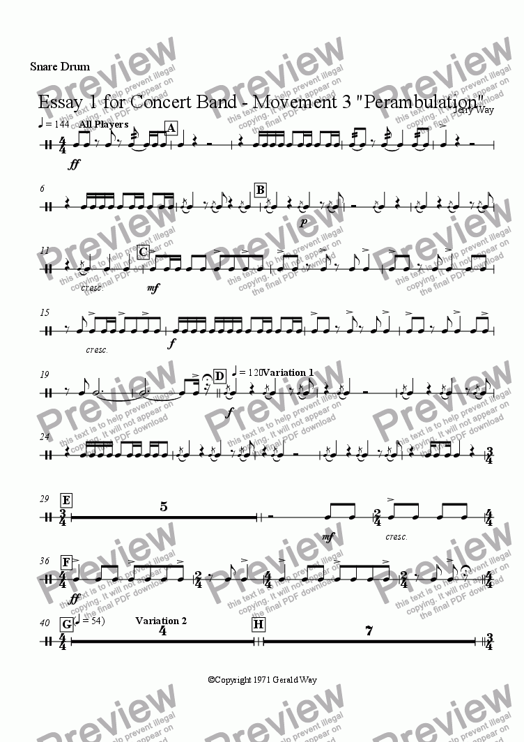 "page one of the Snare Drum part from Essay 1 for Concert Band - Movement 3 ""Perambulation"""