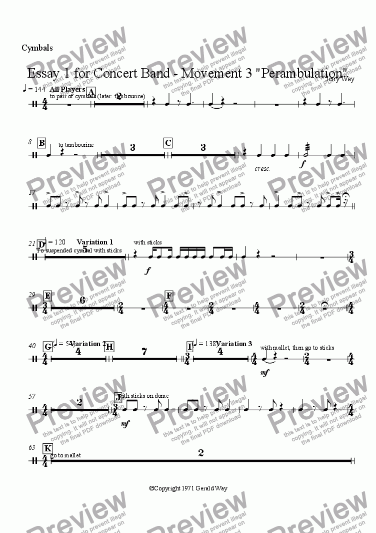 "page one of the Cymbals part from Essay 1 for Concert Band - Movement 3 ""Perambulation"""