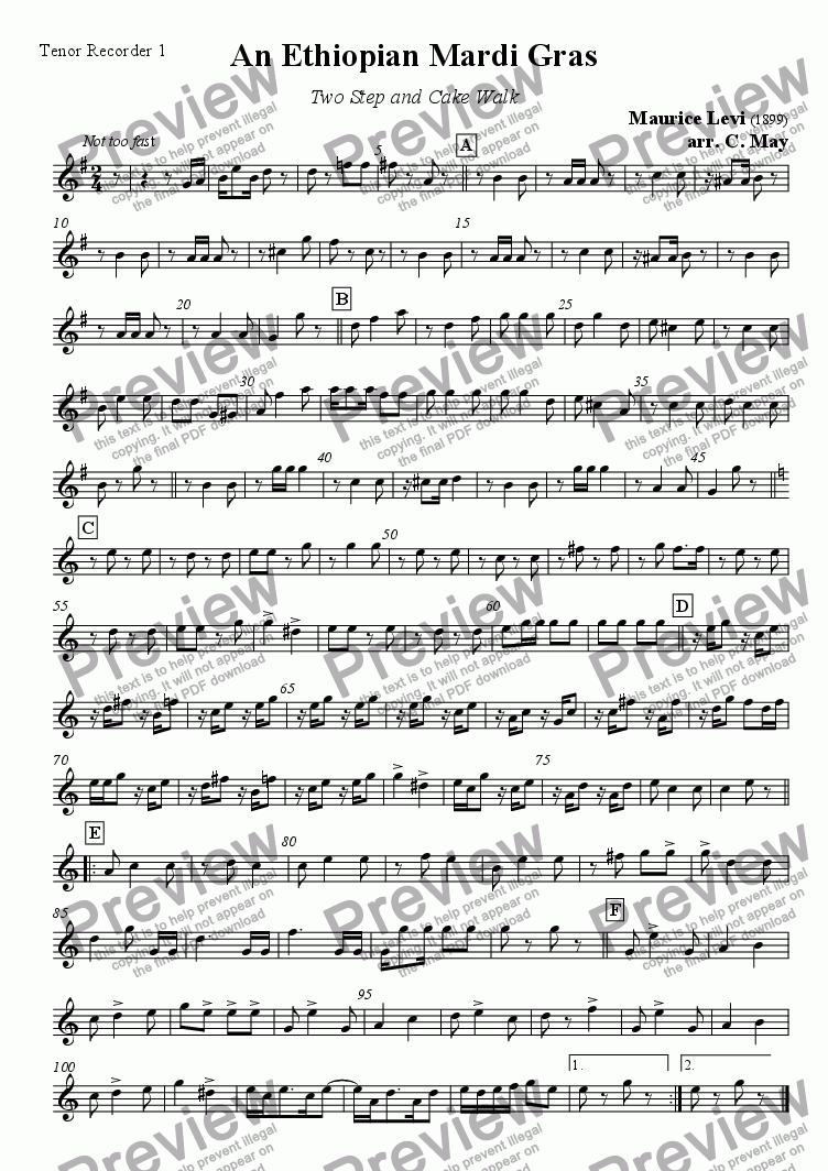 page one of the Tenor Recorder 1 part from An Ethiopian Mardi Gras