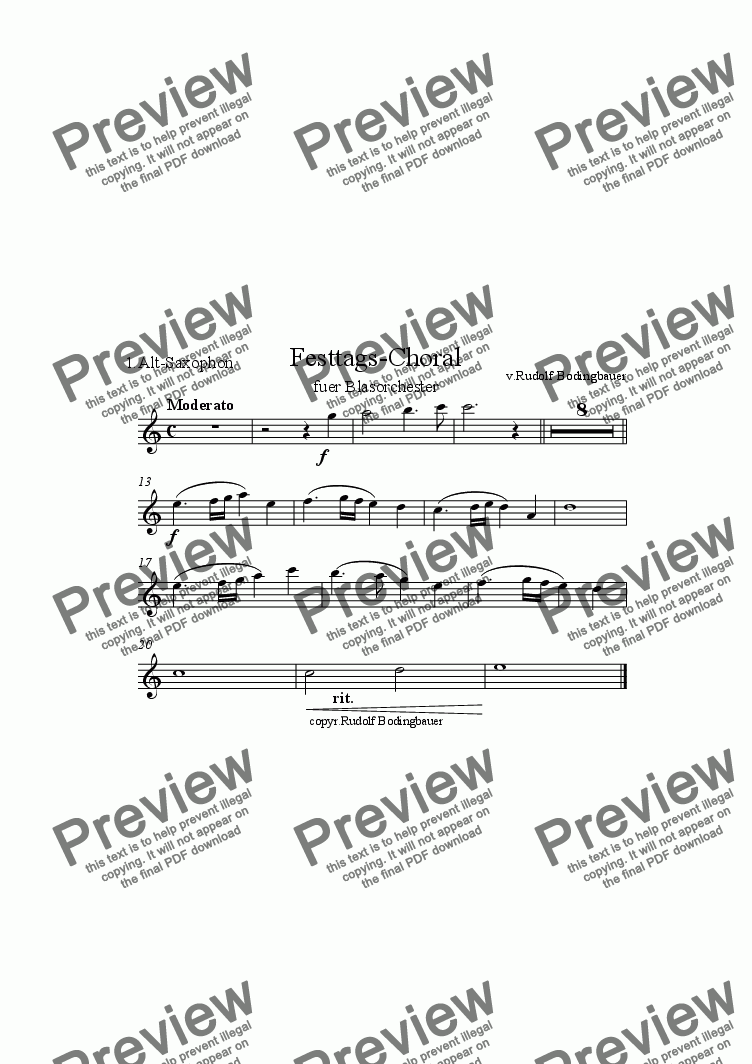 page one of the 1.Alt Saxophon part from Festtags-Choral f�r Blasorchester