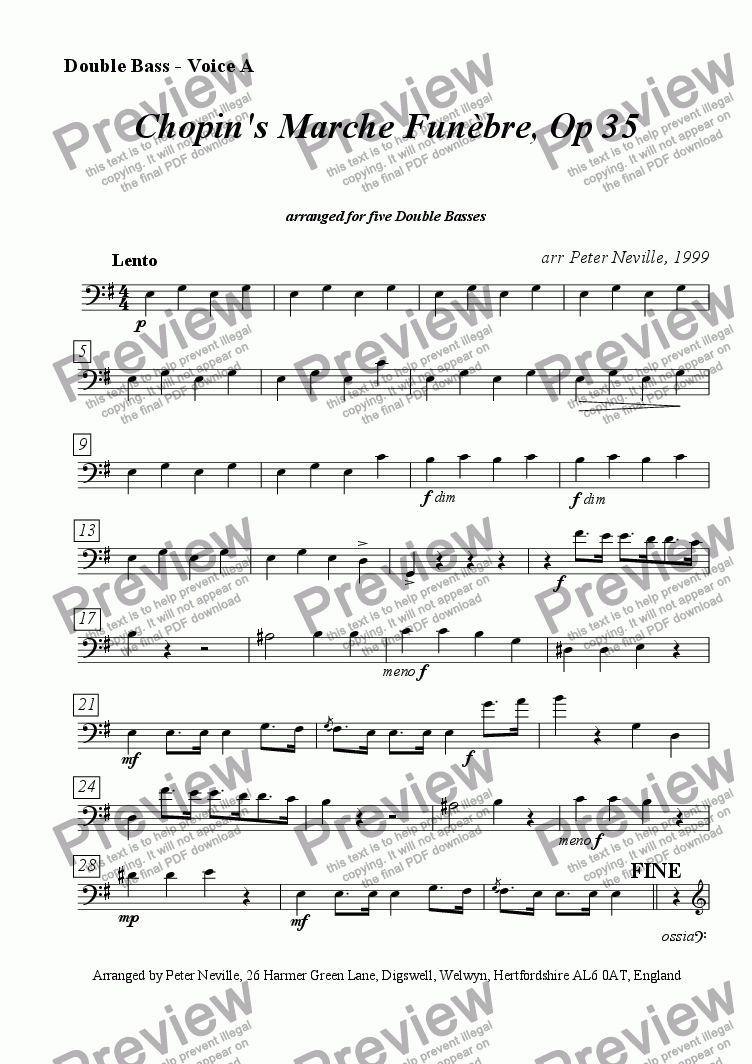 page one of the Bass A part from Marche Funèbre [5/6DB], from Chopin Op35